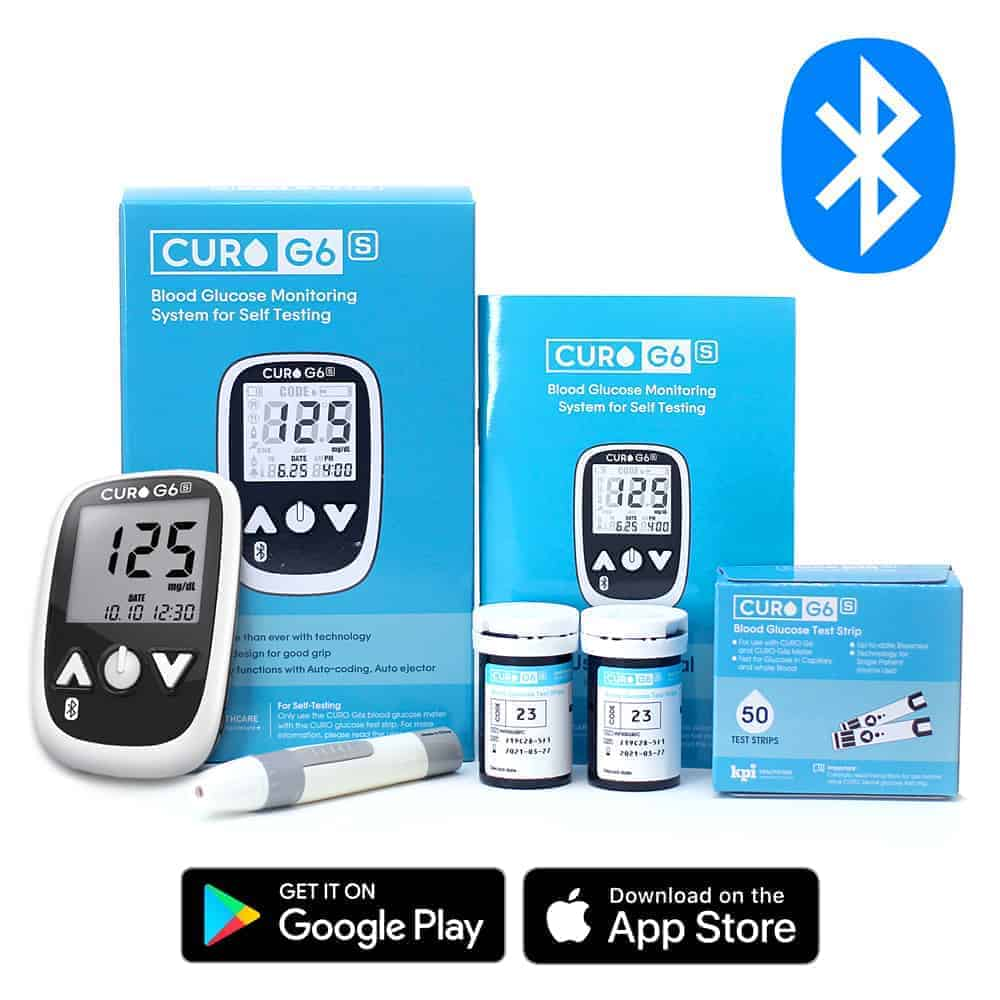 Curo G6s - Blood Glucose Monitor Meter System - Test Blood Sugar Level  (FREE 50 STRIPS)